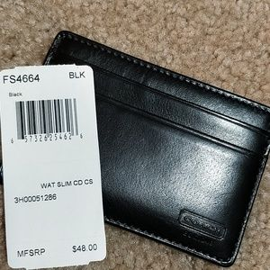 🌞FIRM Coach Slim Black Leather Card Holder